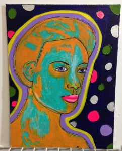 Painting of a womans face in teal  orange